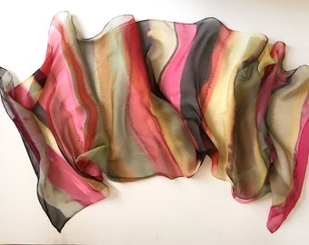 Hand painted silk chiffon scarf- Cherry Stripes scarf- Lightweight scarf- Transitional scarves- Pink ocher scarf- Woman accessory pink- km17