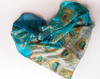 Hand painted silk scarf-Peacocks feathers in aqua and taupe/ Blue beige scarf in art deco style/ Painted scarves/ Birthday gift for her OOAK