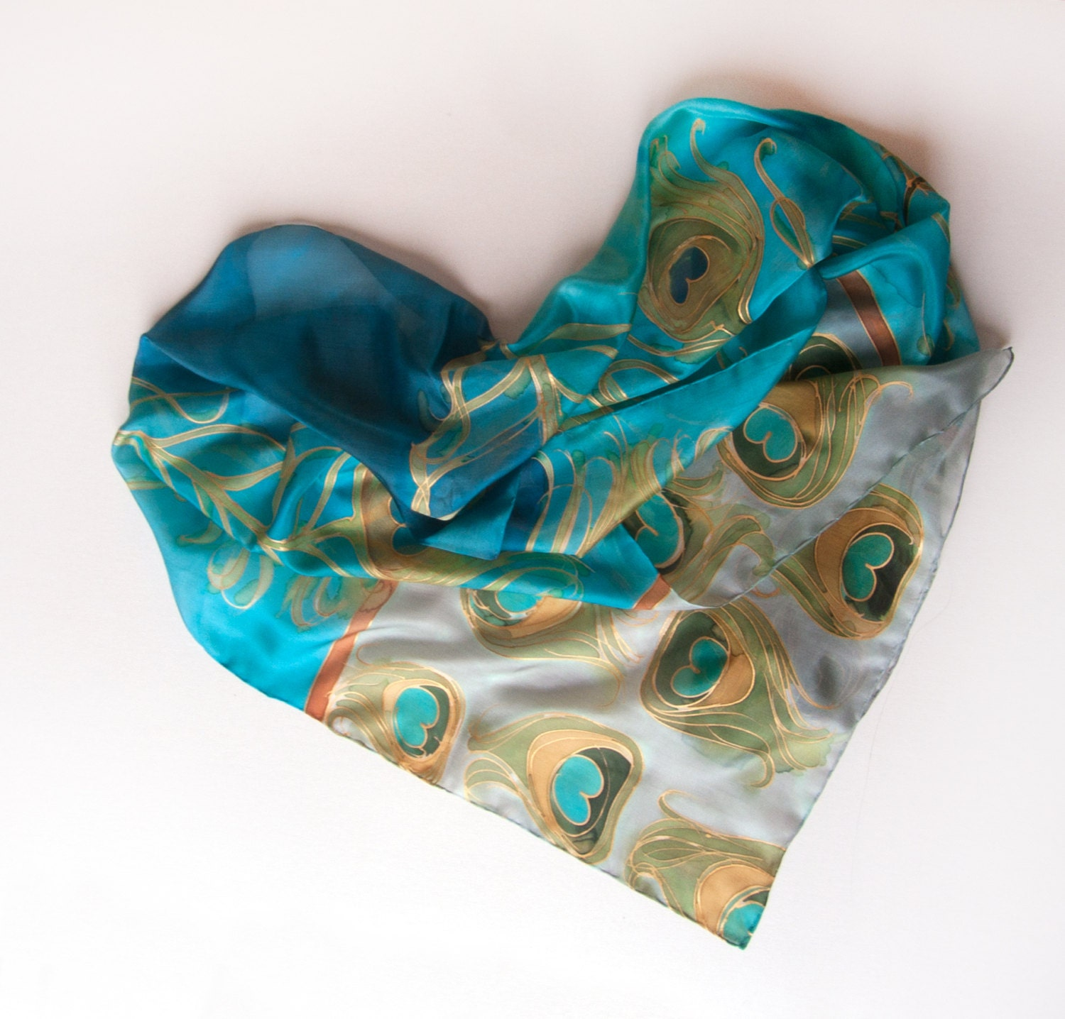 Hand painted silk scarf peacocks feathers in aqua and for Deco taupe et beige