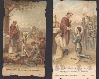 2 Antique Joan of Arc Receiving Communion Holy Cards.  Beautiful Old Prayer Cards of Saint Joan of Arc.