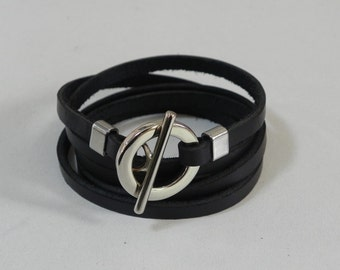 Black Wrap Leather Bracelet Leather Cuff Bracelet with Metal Toggle Clasp