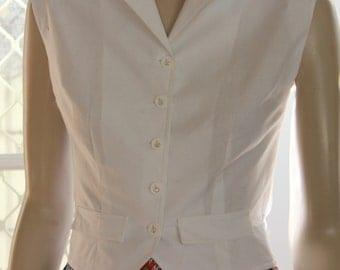 1950's styled Weskit BLOUSE .  White cotton