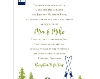 Mountain, Skis and Gondola Colorado Wedding Invitation - Collection options available