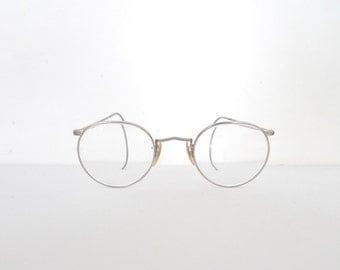 sale Adult Sized Art Deco Victorian Eyeglasses. Vintage Lennon Frame. Antique Marshwood P3 Steampunk ANtique USA Captain's Spectacles
