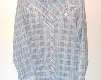 VTG 70s 80s Western Plaid Pearl Snap Shirt Metallic Thread & Piping Oxford ButtonDown Rockabilly Country Crooner Folk Artist Blues Harajuku