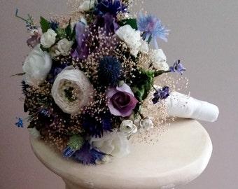Bridal Bouquet and Dried Flower Crown set of 2 lavender purple Blue Thistle destination wedding hair wreath Wildflower accessories