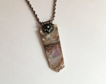 Vintage Abalone Shell Slice Necklace