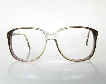 SALE Vintage Womens Eyeglasses Oversized Wayfarer Grey Brown Clear Transparent Fade 1970s 70s Seventies Deadstock Eyewear Optical Frames