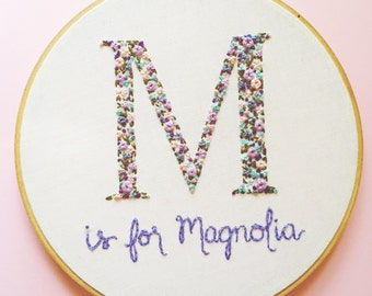 Floral Monogram Embroidery Hoop. Pick your colors. Baby Shower Gift. Embroidery Hoop Art. Nursery Decor. Hand Embroidery by KimArt.