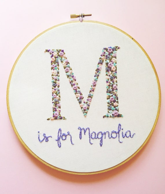 Floral monogram embroidery personalized baby shower gift