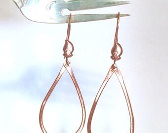 Copper and Moss Green Keishi Pearl Teardrop Dangle Earrings