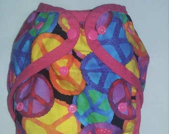 Multi colored Peace sign One size PUL Diaper Cover