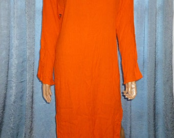 "Vintage - 70's- Florescent - Orange - Crinkle - Embroidered - Boho - Hippie -Tunic - Dress -  Bust 38"""