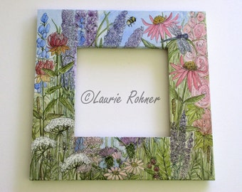 Garden Flower Painted Furniture Frame with Mirror Watercolor Art
