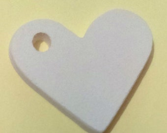 Heart Pendant 1.25 x 1.25 with hole on hump 5 pieces ceramic bisque ready to paint finish made in USA