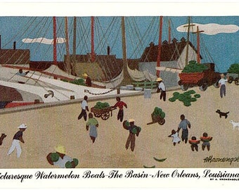 Vintage New Orleans Postcard - Watermelon Boats at the Basin -- Artist Signed, A. Kronengold (Unused)