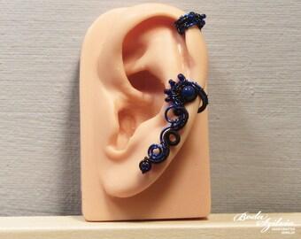 Nyx CARTILAGE EAR CUFF - wire wrapped ear cuff, gothic ear cuff, black ear cuff, no piercing ear cuff, gothic jewelry, gothic ear wrap