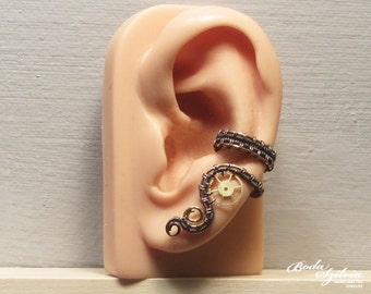 STEAMPUNK EAR CUFF - wire wrapped ear wrap, copper & brass gear ear cuff, no piercing ear cuff, adjustable ear cuff, steampunk jewelry