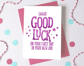 Good Luck at New Job– Personalised First Day At Work Card – New Job Card - Good Luck Card - Card for Employee - Personalised Name Card