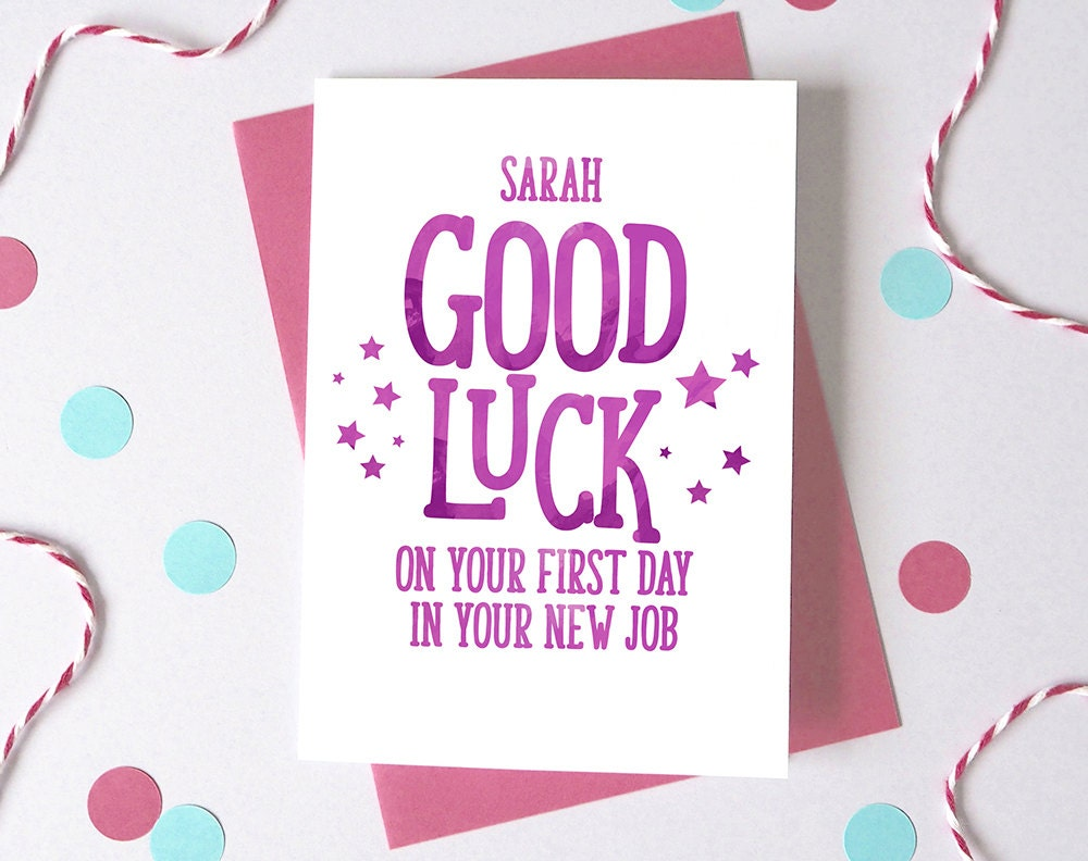 good luck at new job personalised first day at work card first day at work card new job card 🔎zoom