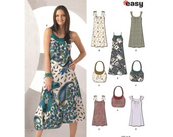 Easy Dress Pattern New Look 6984 Loose Dress Shoulder Strap or Ruffle Sleeve & Handbag Womens Sewing Pattern Size 10 to 22 UNCUT