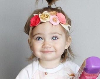 Pink cream and gold felt flower crown headband - first birthday crown - cake smash crown - newborn flower crown