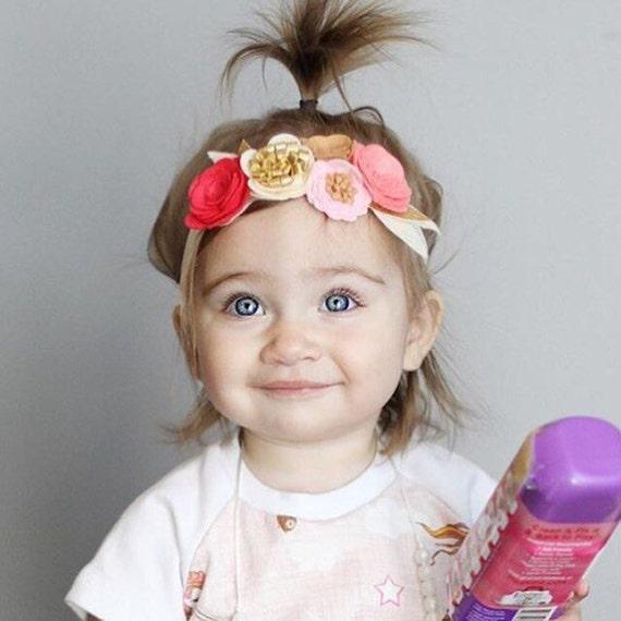 Pink cream and gold  felt flower crown headband - OOAK