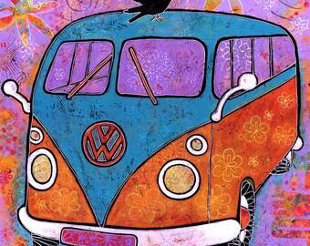 Colorful Art VW Bus - VW Van with Raven Canvas Print titled Flower Power