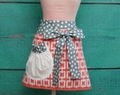 Towel Apron - Shower Hostess Apron - Coral and Grey Geometric