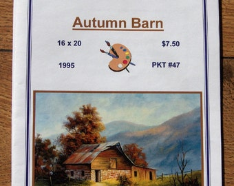 1995 painting pattern packet AUTUMN BARN Dorothy Dent 16 x 20