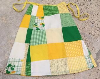 """1970s Vintage Wrap Skirt - Kitschy Patchwork Skirt - Yellow Green White Gingham Calico Polkadots Solids Frogs - Froggy Skirt - Up to 28"""" Max"""