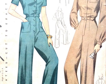 Simplicity 4104 1940s Women's Coveralls Overalls Rosie the Riveter  WW2 Misses' Suit 40s Slacks 40s Pants Vintage Sewing Pattern Bust 34