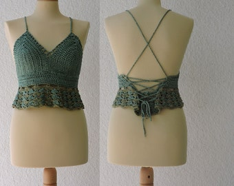 Ocean breeze crochet halter top with criss-cross bustle back - natural yarn