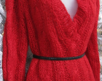 plus size Plunging Neckline ITALIAN Red Mohair and Wool Sweater, size 40 / 42