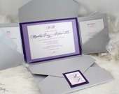 Elegant Purple Hues Wedding Invitation | Simple | Purple | Lavender | Pink | Silver | Gorgeous |  Luxurious | Modern | Classic | Classy