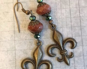 CLEARANCE SALE Fleur De Lis Earrings, Goldstone,