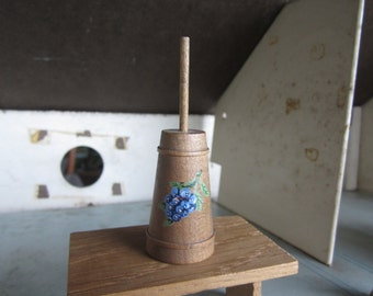 Vintage Miniature Wooden  Hand Painted Grapes  Butter Churn.. Dollhouse Furniture #189