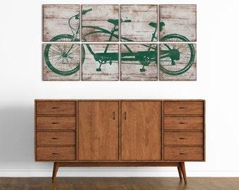 Large Tandem Bicycle Wall Art - Vintage Bike Print - Custom Made Wall Art Decor 24x48