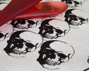 Regency Skull Black on Off White Linen Tea Towel