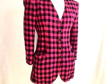 Vintage PINK And Black CHECKERED Shirt With Pockets / 1980s Jones New York / Womens Medium Large / Black & Pink Square Blazer