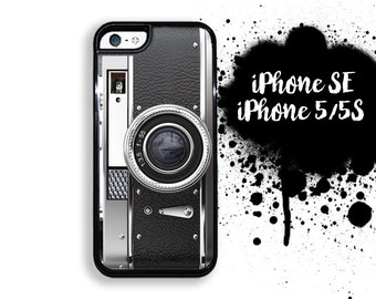 iPhone 5S SE Black Retro Camera  iPhone 5S Case | iPhone 5  Vintage Camera Style  Plastic or Rubber Trim