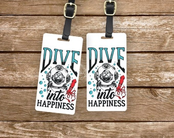 Luggage Tag Dive into Happiness Metal Luggage Tag With Custom Info On Back, Single Tag or Set Available