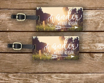 Luggage Tag Set Wander without Reason Summer Sunshine Metal Luggage Tag Set With Custom Info On Back, 2 Tags Choice of Straps Version 4