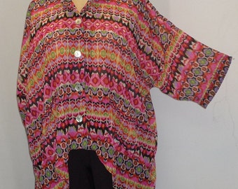 Coco and Juan, Plus Size Top, Lagenlook Pink Kilim Print High Low, Plus Size Shirt Jacket, OS 1X 2X 3X Bust to 64 inches
