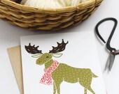Moose Festive Cards, Christmas Stationery, Moose Greetings, Xmas Greetings, Winter Animal Cards, Box Set Xmas Cards, Xmas Novelty Cards