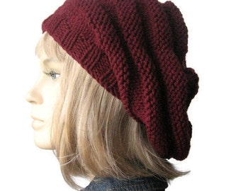 Burgundy Hand Knit Hat, Beehive Beret, Womens Accessories, Knitwear, Burgundy Knit Beret, Fall Fashion