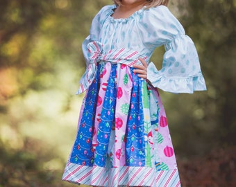Girls Holiday Dress, Blue Angel, sizes 6 months to 8 years, by SunLoveShirts