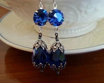 Vintage Swarovski sapphire crystal and Czech bead earrings silver tone