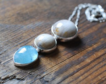 Dollybird Dew Drop Necklace Aquamarine Petrified Wood