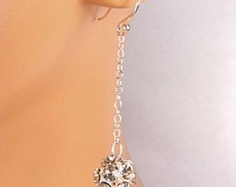 Silver Long Bridal Earrings Crystal Ball Long Bridal Earrings Sparkly Earrings Camryn
